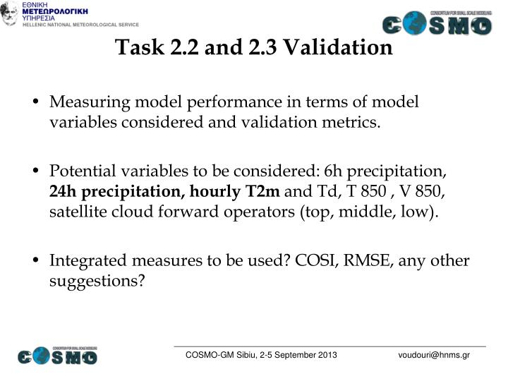 Task 2.2 and 2.3 Validation