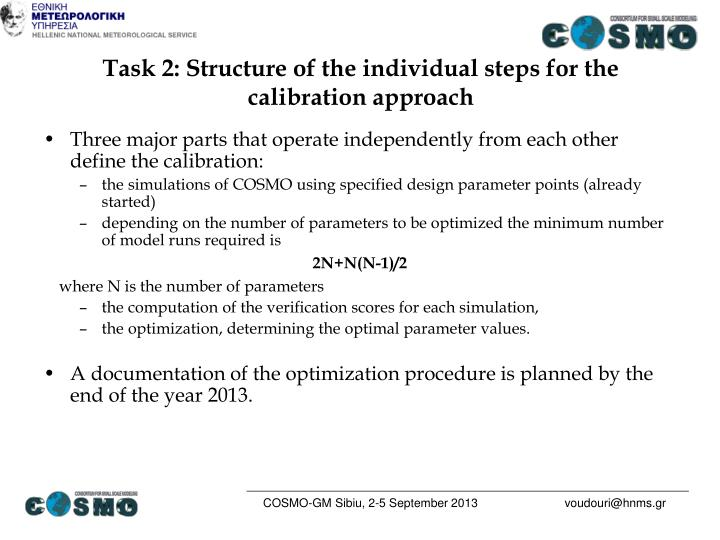 Task 2: Structure of the individual steps for the calibration approach