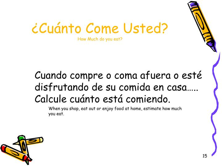 ¿Cuánto Come Usted?