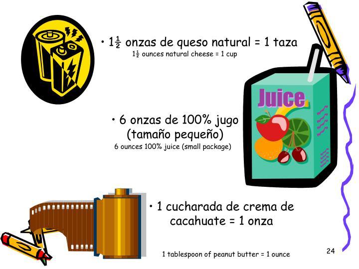 1½ onzas de queso natural = 1 taza