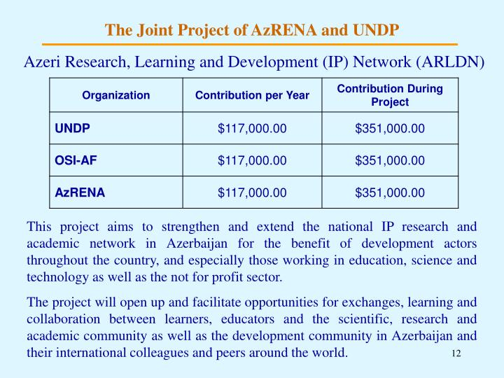 The Joint Project of AzRENA and UNDP