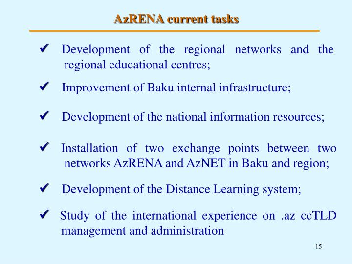 AzRENA current tasks