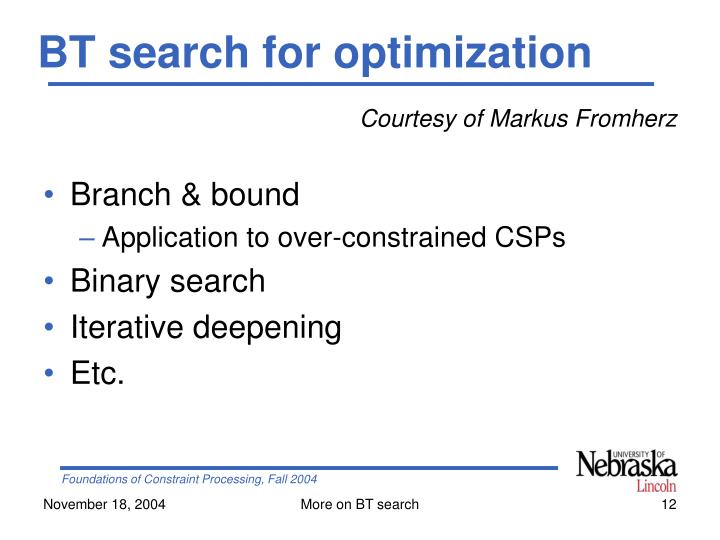 BT search for optimization