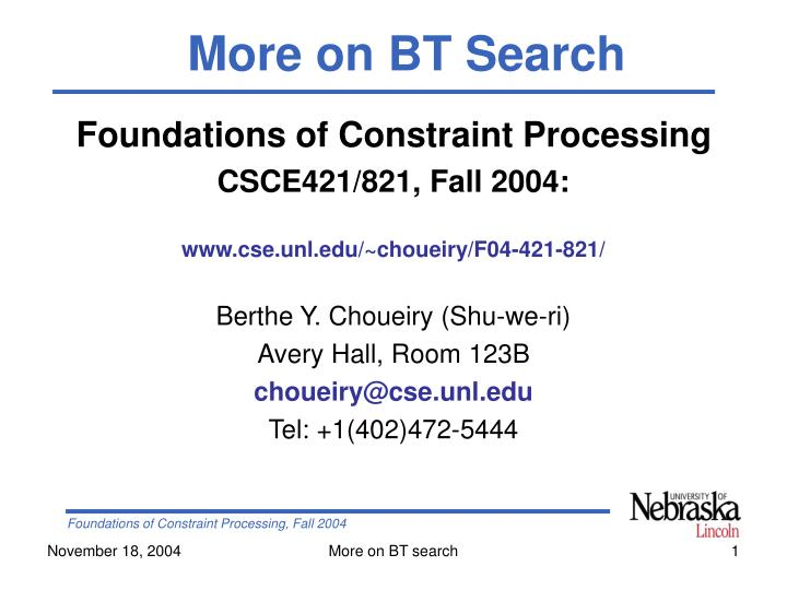 More on BT Search