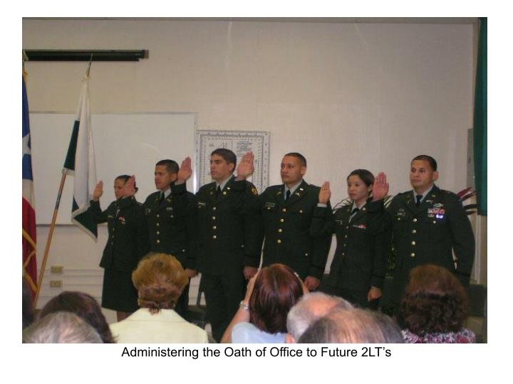 Administering the Oath of Office to Future 2LT's