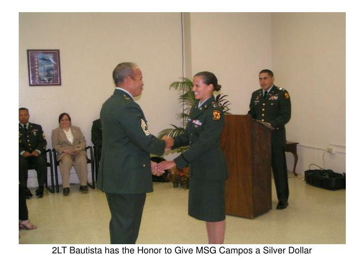 2LT Bautista has the Honor to Give MSG Campos a Silver Dollar