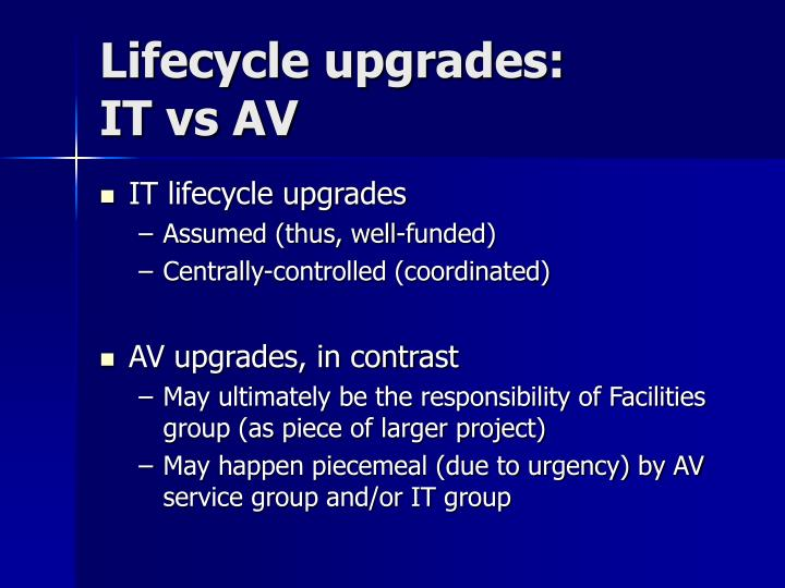 Lifecycle upgrades: