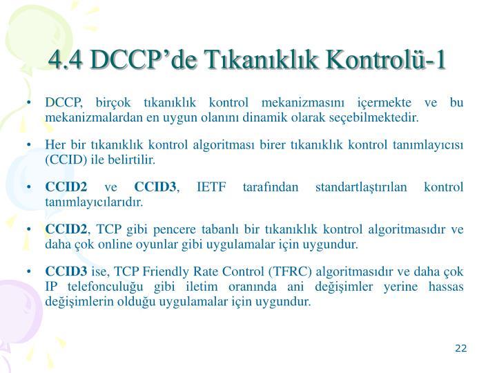 4.4 DCCP'de Tıkanıklık Kontrolü-1