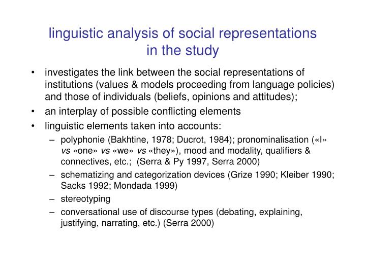 linguistic analysis of social representations