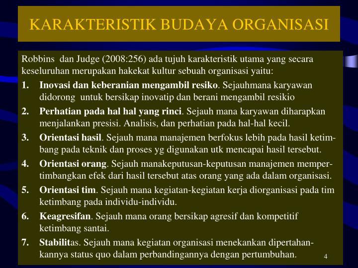 KARAKTERISTIK BUDAYA ORGANISASI