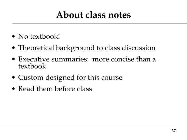 About class notes