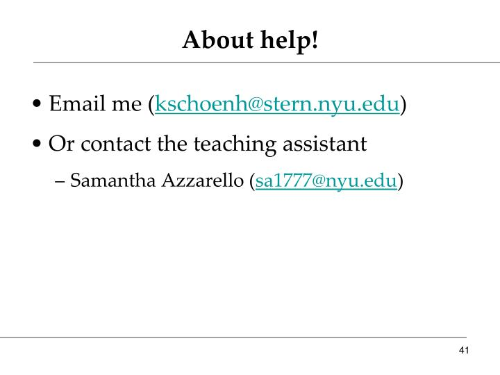About help!