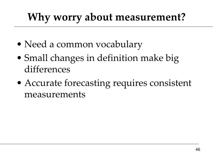 Why worry about measurement?
