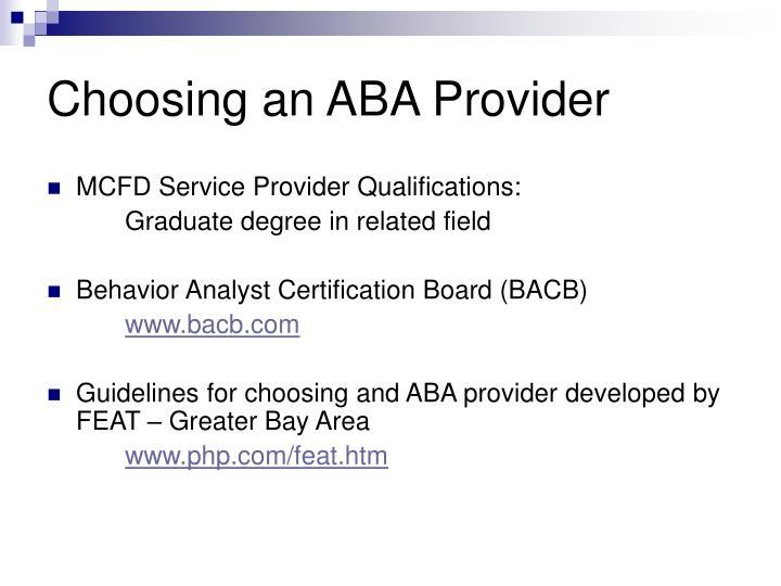 Choosing an ABA Provider