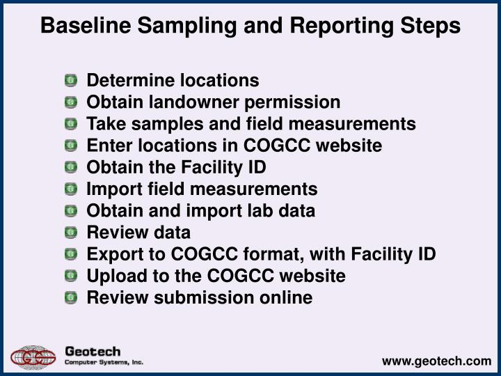 Baseline Sampling and Reporting Steps