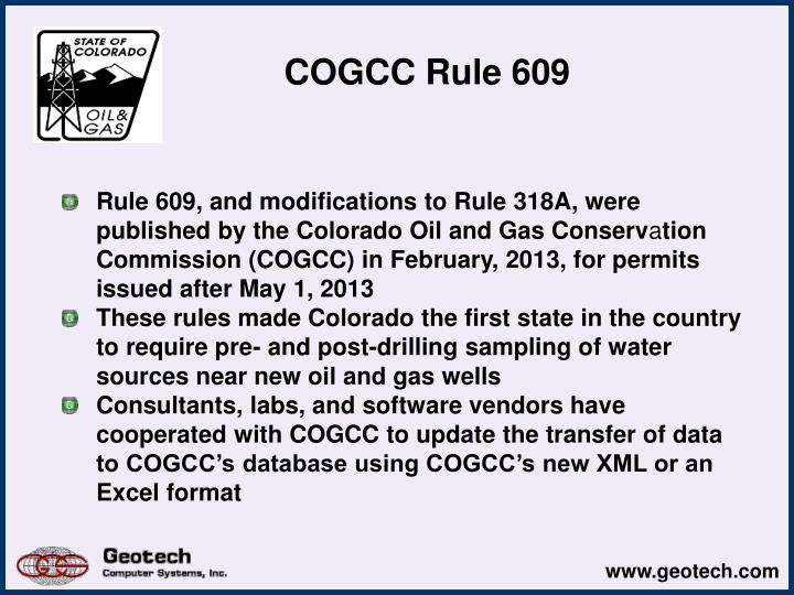 COGCC Rule 609