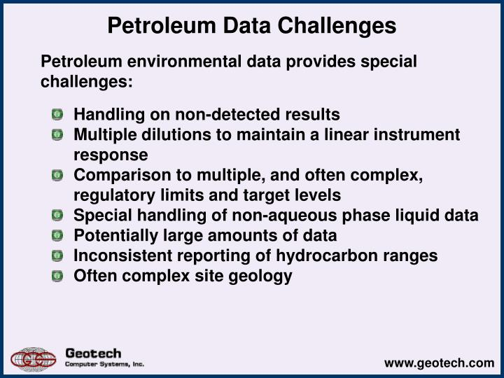 Petroleum Data Challenges