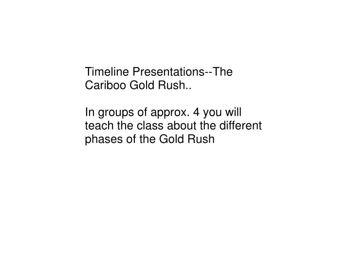 Timeline Presentations--The Cariboo Gold Rush..