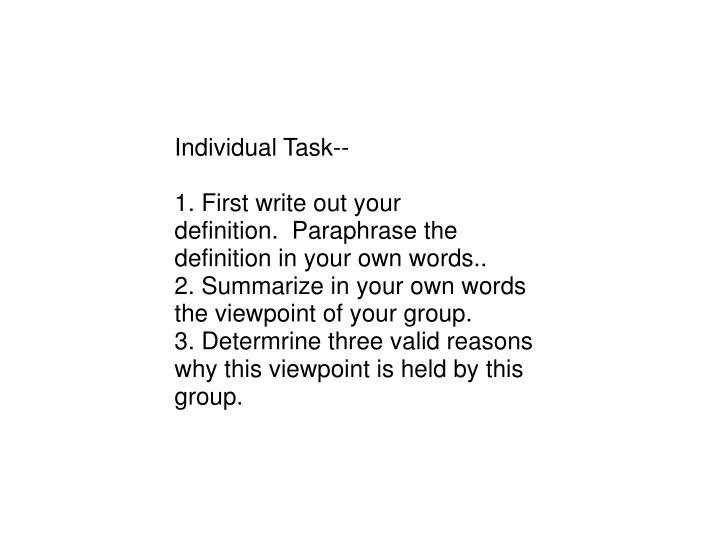 Individual Task--