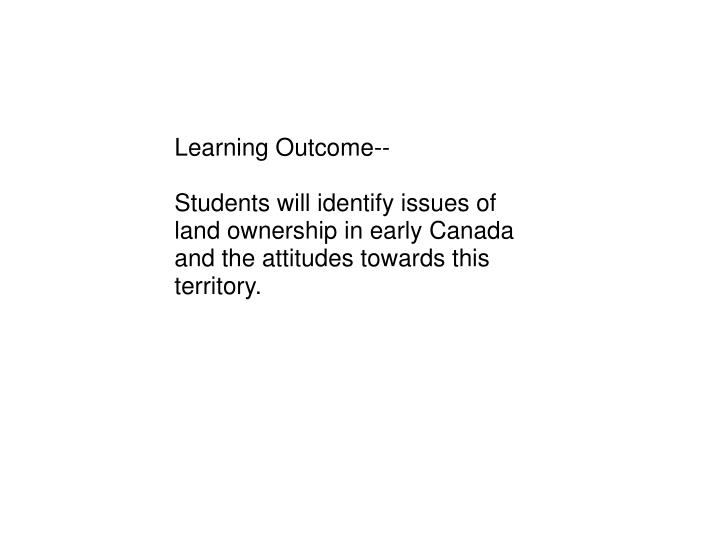 Learning Outcome--
