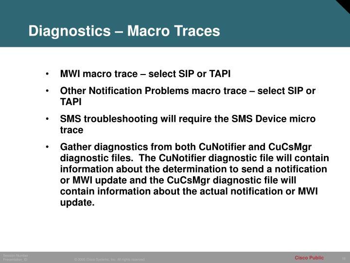 Diagnostics – Macro Traces