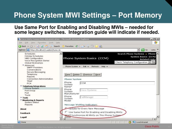 Phone System MWI Settings – Port Memory