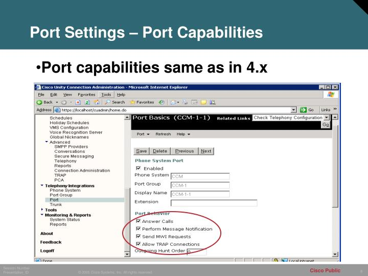 Port Settings – Port Capabilities