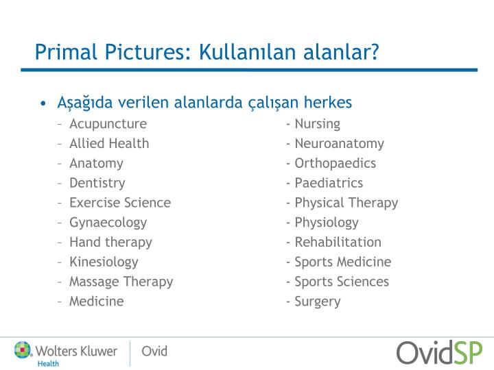 Primal Pictures: Kullanılan alanlar?