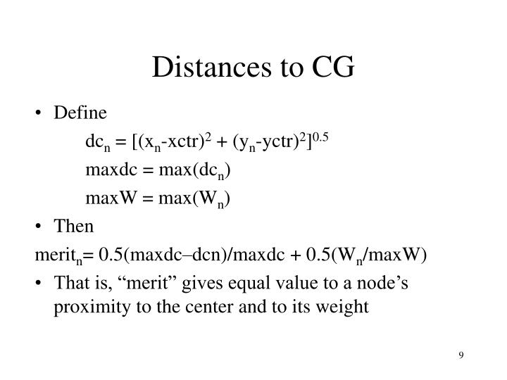 Distances to CG