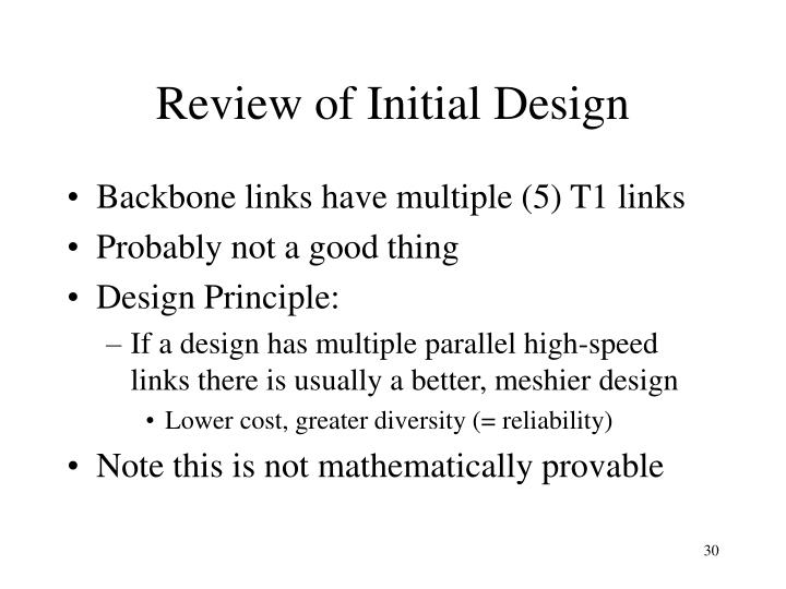 Review of Initial Design