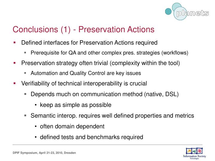 Conclusions (1) - Preservation Actions