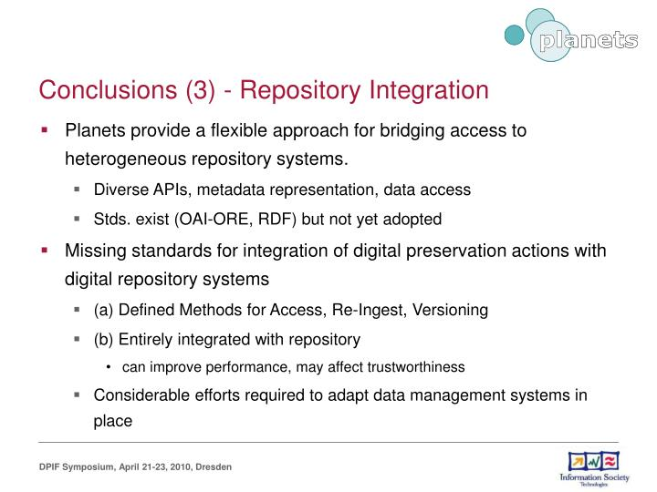 Conclusions (3) - Repository Integration