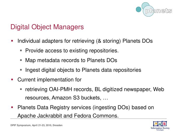 Digital Object Managers