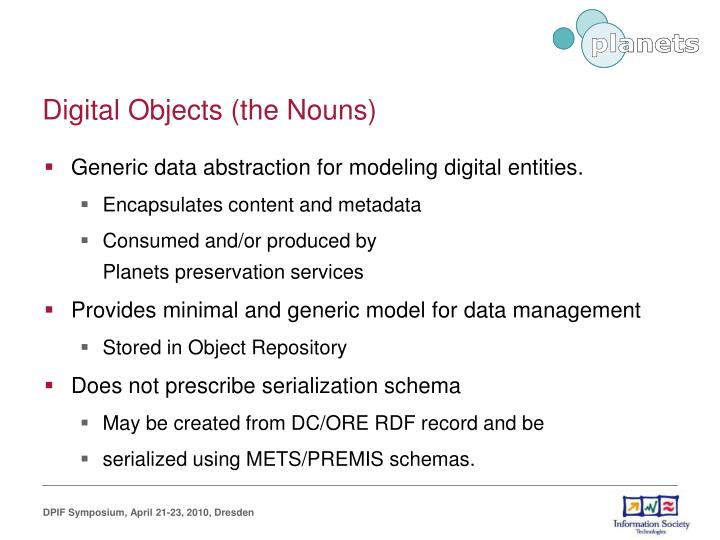 Digital Objects (the Nouns)