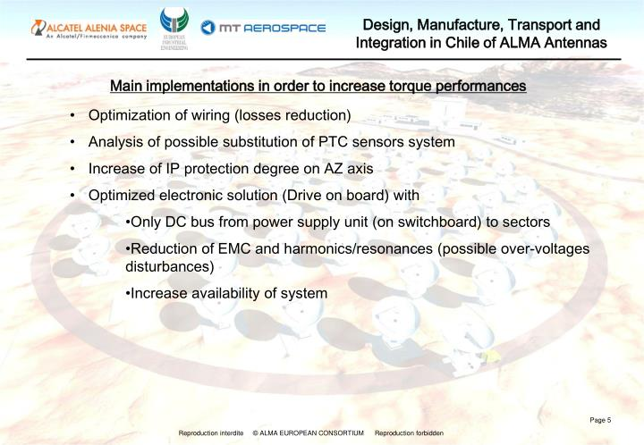Main implementations in order to increase torque performances