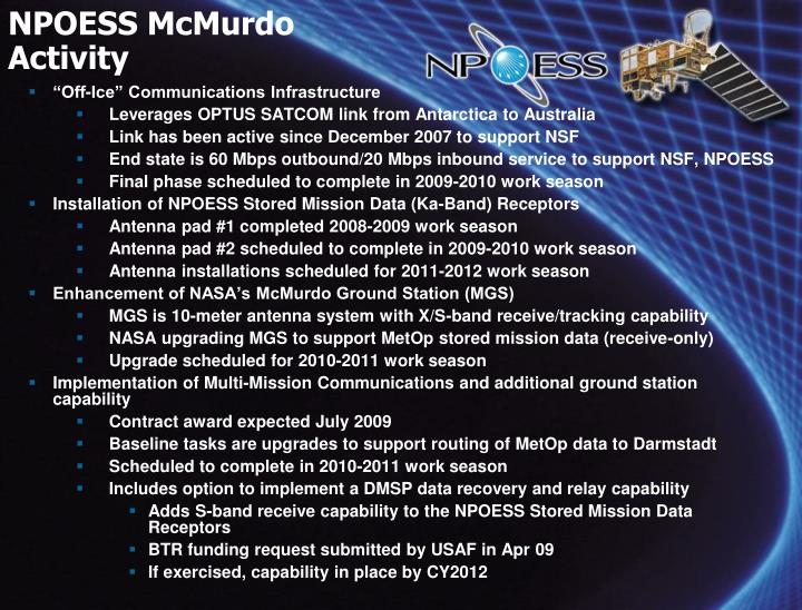 NPOESS McMurdo Activity