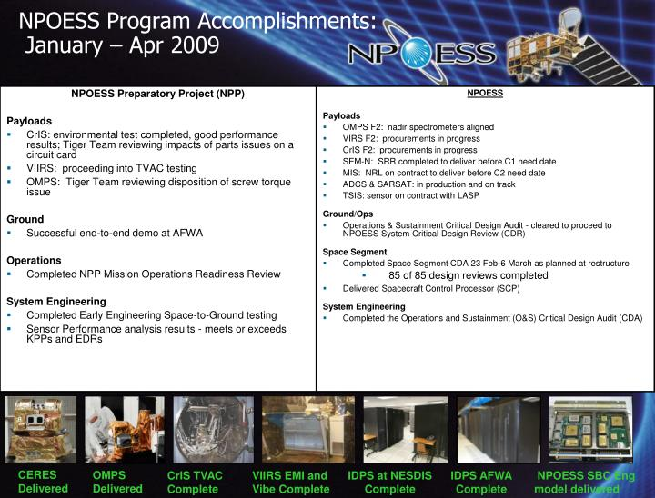 NPOESS Program Accomplishments: