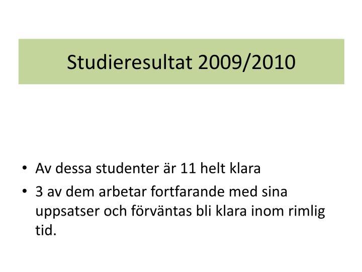 Studieresultat 2009/2010