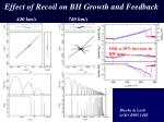 effect of recoil on bh growth and feedback