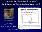 galaxies as bubble chambers for bhs ejected by gravitational wave recoil