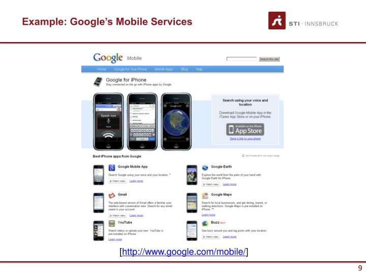 Example: Google's Mobile Services
