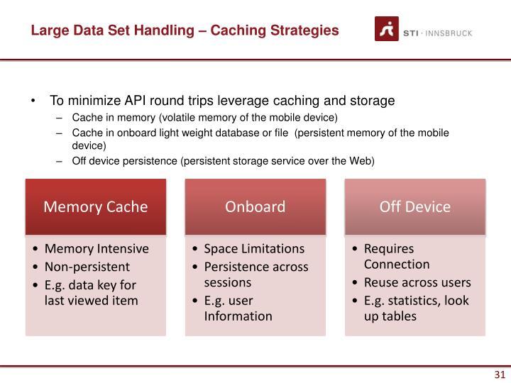 Large Data Set Handling – Caching Strategies