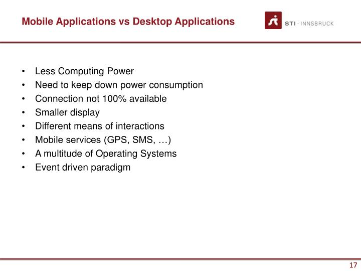 Mobile Applications vs Desktop Applications