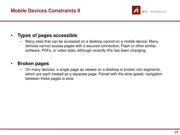 Mobile Devices Constraints II