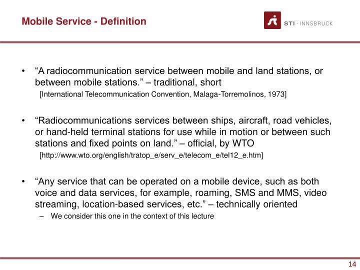 Mobile Service - Definition