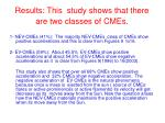results this study shows that there are two classes of cmes