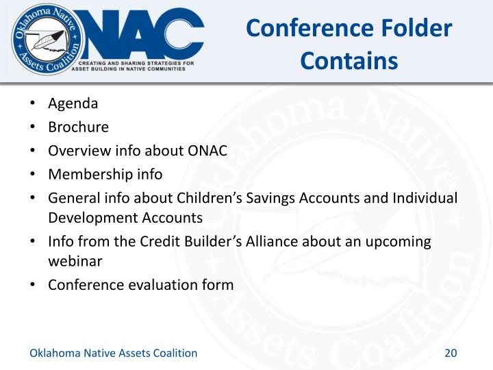 Conference Folder Contains