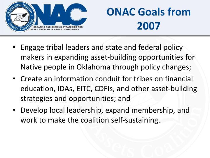 ONAC Goals from 2007