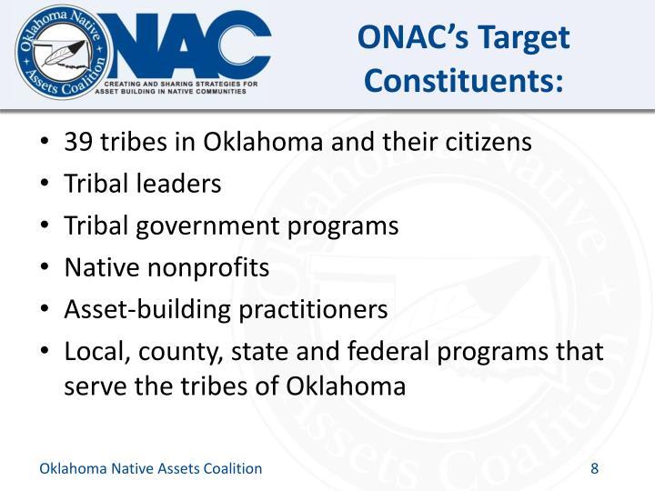 ONAC's Target Constituents: