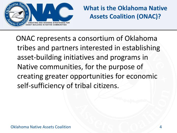 What is the Oklahoma Native Assets Coalition (ONAC)?